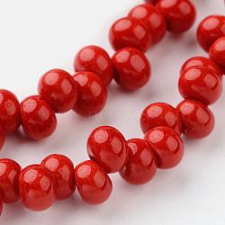 """Каплевидный стеклянная бусина пряди, красные, 6x4 мм, Отверстие : 1 мм; около 100 шт / нитка, 15.3""""(EGLA-J135-NB01)"""