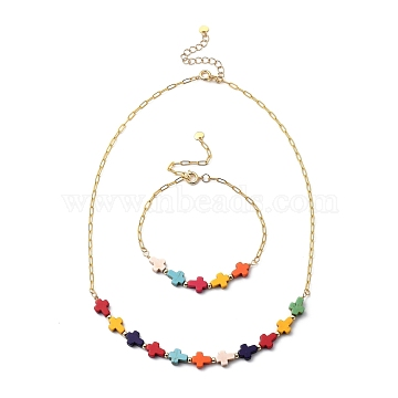 Cross Beaded Bracelets & Necklaces Jewelry Sets, with Synthetic Turquoise Beads, Brass Paperclip Chains, Spacer Beads, Spring Ring Clasps and 304 Stainless Steel Charms, Golden, 18.11 inches(46cm); 8-1/8 inches(20.5cm)(SJEW-JS01127)