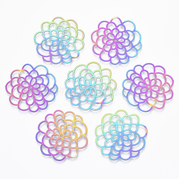 Vacuum Plating 201 Stainless Steel Filigree Joiners Links, Etched Metal Embellishments, Flower, Rainbow, Multi-color, 31.5x30.5x0.4mm, Hole: 1.5mm(X-STAS-T057-23)