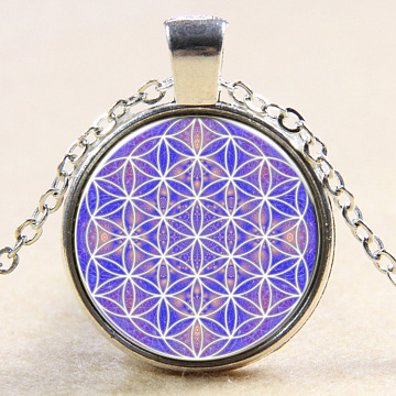 Kaleidoscope Pattern Flat Round Glass Pendant Necklaces, with Alloy Chains, Silver Color Plated, 18inches(NJEW-N0051-024C-02)