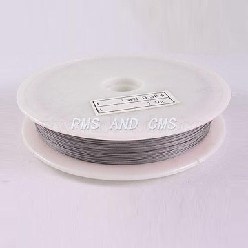 1 Roll Beading Wirer, Tiger Tail Wire, Nylon-coated Steel, Light Grey, 0.45mm, about 229.65 Feet(70m)/roll(X-TWIR-70R0.45MM-1)