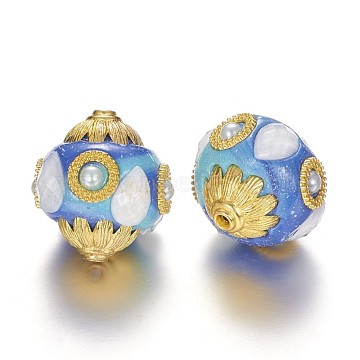 Oval Handmade Indonesia Beads, with Alloy Cores, Golden, Deep Sky Blue, 25x23mm, Hole: 2mm(IPDL-P001-05A)