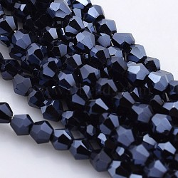 Faceted Bicone Electroplate Glass Beads Strands, Full Hematite Plated, MidnightBlue, 4x4mm, Hole: 1mm; about 100~104pcs/strand, 12.2inches(X-EGLA-P016-F05)
