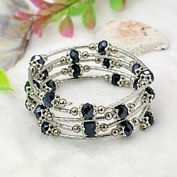 Bracelets enroulés à la mode, avec des perles de verre rondelles, Coupelles de style tibétain , laiton perles de tubes et de fils d'acier de la mémoire, noir, diamètre intérieur: 55 mm(BJEW-JB00628-10)