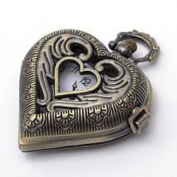 Coeur vintage têtes de montre en alliage de zinc quartz brossé, pour création de montre de poche collier pendentif , bronze antique, 46x41x13.5mm(WACH-R008-14)