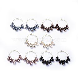 charmes de verre de vin, avec des perles de verre et des créoles en laiton, or, couleur mélangée, 42.5~43x36~37.5x8 mm, pin: 0.6 mm(EJEW-JE03184)