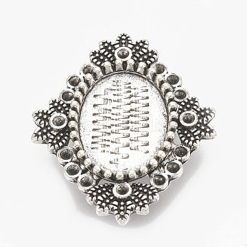 Tibetan Style Alloy Slide Charms Cabochon Settings, Cadmium Free & Nickel Free & Lead Free, Flower, Antique Silver, Tray:13x18mm; 34x28x7mm, Hole: 10x2mm; about 150pcs/1000g(TIBEB-R068-37AS-LF)