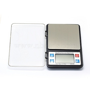 Jewelry Tool, Aluminum Mini Electronic Digital Pocket Scale, with ABS, Built-in Battery, Rectangle, Silver, Weighing Range: 0.01g~1000g; 165x114x21mm(TOOL-E006-02)