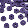 Eco-Friendly Handmade Polymer Clay Beads, Disc/Flat Round, Heishi Beads, Indigo, 4x1mm, Hole: 1mm, about 55000pcs/1000g