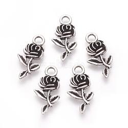 Tibetan Style Alloy Pendants, Rose Flower, Antique Silver, 21x10.5x2.5mm, Hole: 2.5mm