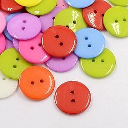 Boutons acryliques de couture, Boutons en plastique pour costumes, 2-trou, teint, plat rond, couleur mixte, 15x2mm, Trou: 1mm(X-BUTT-E084-C-M)