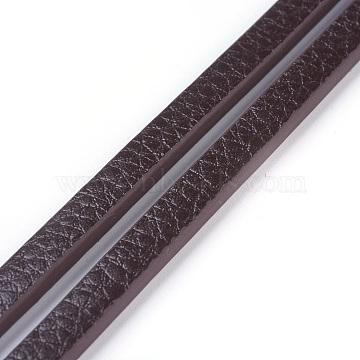 Microfiber PU Leather Cords, Flat, Coconut Brown, 6x3mm, about 1.09 yards(1m)/strand(X-WL-F010-01B-6mm)