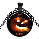 Halloween Theme Glass Pendant Necklaces(NJEW-J057-B927-B)-1