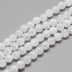 """Натуральный хрустящий кварц кристалл бисер прядь, круглые, 6 мм, Отверстие : 1 мм; около 78 шт / нитка, 15.7""""(G-R439-26-6mm)"""
