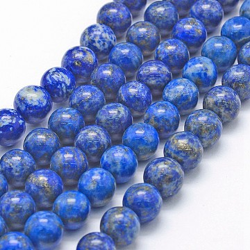 Natural Lapis Lazuli Beads Strands, Round, 8mm, Hole: 1mm, about 49pcs/strand, 15.7 inches(40cm)(X-G-P335-09-8mm)