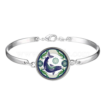 Picture Glass Links Bracelets, with Alloy Findings, Flat Round with Pattern, Fish, Green, 2-1/8 inches(5.5cm)(BJEW-O171-15)