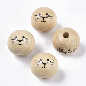 Natural Wood European Beads, Waxed and Printed, Undyed, Large Hole Beads, Round, Cat Pattern, Navajo White, 19~20mm, Hole: 5mm(X-WOOD-S055-16A)