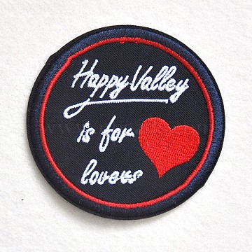 Computerized Embroidery Cloth Iron on/Sew on Patches, Costume Accessories, Appliques, Flat Round with Word Happy Valley Is For Lovers, Black, 75mm(DIY-O003-19)