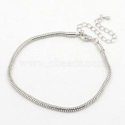 Bracelets de style européen en laiton , laiton avec agrafe de griffe, couleur platine, environ 19 cm de long, 3 mm d'épaisseur; fermoir: 12x6x3 mm(X-PPJ003)