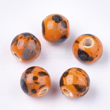 11mm Orange Round Porcelain Beads