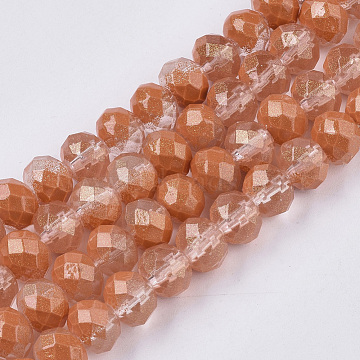 Spray Painted Glass Beads Strands, with Silver Glitter, Faceted, Rondelle, SandyBrown, 8x6mm, Hole: 1.2mm; about 72pcs/strand, 16.93''(DGLA-T001-006B)