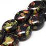 Handmade Porcelain Beads, Fancy Antique Glazed Porcelain, Oval, Black, 15.5~16x13~14x9~9.5mm, Hole: 2mm