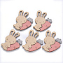 Faux Suede Cabochons, Rabbit, Pink, 52.5x39x3mm