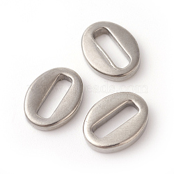 304 languettes de la chaîne en acier inoxydable, connecteurs d'extension de chaîne, ovale, couleur inox, 14x10.5~11x2.5 mm, trou: 3x10 mm(STAS-F192-021P)