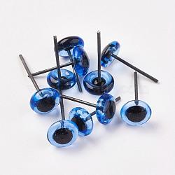 yeux de poupée de verre artisanal, Yeux en peluche, avec la broche de fer, les broches varient en longueur, cornflowerblue, 10 mm(DIY-WH0020-B03-10mm)