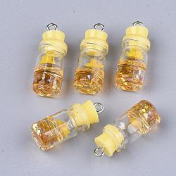 Décorations de bouteille en verre, avec résine strass et bouchon, fleur séchée et fer, platine, jaune, 26~27x9.5~10mm, Trou: 1.8mm(X-GLAA-S181-05F)