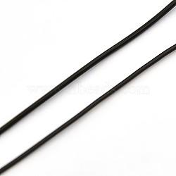 Fil cristal, fil élastique, cordons de perles de bijoux, pour la fabrication de bracelets élastiques, noir, 1 mm; environ 1000 m/rouleau(EW-L001-C-02)