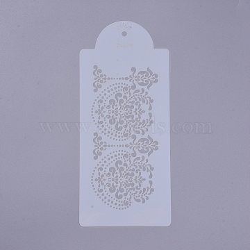 Eco-Friendly Food Grade Plastic Templates Spray Cake Molds, Surface Cake Decorating Stencil Molds, Flower, White, 277x122x0.3mm, Hole: 6.5mm(DIY-G020-18)