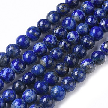 Natural Lapis Lazuli Beads Strands, Round, 6.5~7mm, Hole: 0.6mm, about 60pcs/strand, 15.35 inches~15.55 inches(39~39.5cm)(X-G-I258-01)