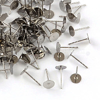 316 Surgical Stainless Steel Flat Round Blank Peg Stud Earring Settings, Stainless Steel Color, Tray: 6mm, 12x6mm, Pin: 0.8mm