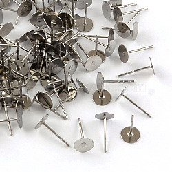 316 Stainless Steel Flat Round Blank Peg Stud Earring Settings, Stainless Steel Color, Tray: 6mm; 12x6mm, Pin: 0.8mm(X-STAS-R073-02)