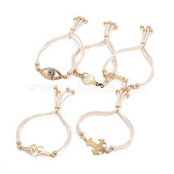 """Bracelets réglables de bolo de corde en nylon, Bracelets coulissants, chaînes de boîte, avec 304 accessoires de strass en acier inoxydable, formes mixtes, or, floral blanc, 8-7/8""""~9-1/2"""" (22.5~24cm); 4~5mm(BJEW-F374-A)"""