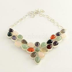 Gemstone Bib Statement Necklaces with Alloy Cabochon Settings and Silver Color Plated Brass Chains , Mixed Stone, 19.8inches.(NJEW-R224-07B-B)