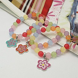 Charm Bracelets, Fashion Frosted Transparent Acrylic Bracelets for Kids, with Enameled Alloy Charms and Elastic Thread, Mixed Color, 45mm(BJEW-JB00627-07)