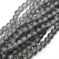 """Chapelets de perles en verre transparent, mat, rond, grises , 14mm, trou: 1.3~1.6mm; environ 58 pcs/chapelet, 31.4""""(GLAA-S031-14mm-12)"""