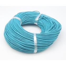 Cordon en cuir de vachette, cordon de bijoux en cuir , bleu ciel, taille: environ 1.5 mm d'épaisseur(X-WL-Q003-4)