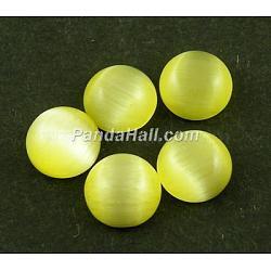chat cabochons de verre oeil, demi-tour / dôme, jaune, sur 25 mm de diamètre, 5 mm d'épaisseur(X-CE074-25-16)