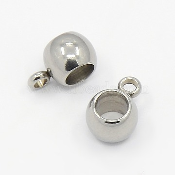304 Stainless Steel Hanger Links, Bail Beads fit European Chains, Rondelle, Stainless Steel Color, 5x9x6mm; Hole: 1mm, Inner Diameter: 4mm(STAS-M005-02)