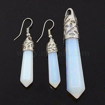 LightCyan Bullet Opal Earrings & Pendants