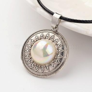 Flat Round Tibetan Style Alloy Acrylic Pearl Pendant Necklaces(NJEW-F197-20)-2