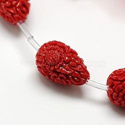 teint synthétique corail en forme de larme en forme de fleur sculpté perles brins, DarkRed, 21x14x14 mm, trou: 1 mm; environ 16 perle / brin, 17(X-CORA-L009-02)