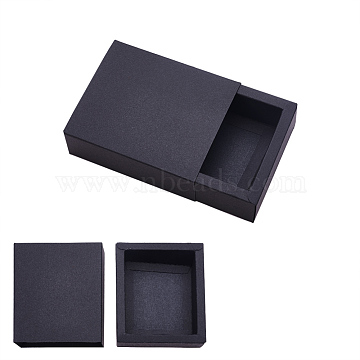 Kraft Paper Drawer Box, Folding Box, Drawer Box, Rectangle, Black, 12.5x10.5cm, Finished Product: 10.6x8.6x4cm, 20pcs/set(CON-YW0001-03C-B)