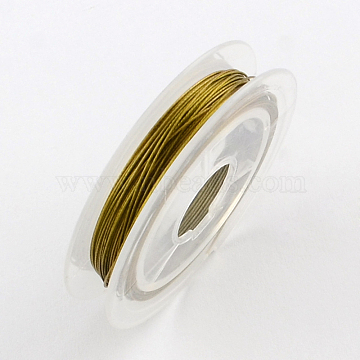 Fil de queue de tigre, acier revêtu de nylon, darkgoldenrod, 0.45 mm; environ 10 m/rouleau(X-TWIR-S001-0.45mm-07)