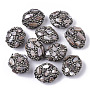 24mm RosyBrown Oval Polymer Clay+Glass Rhinestone Beads(RB-S055-20K)