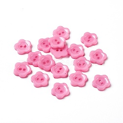 Boutons de couture en acrylique pour la création de costumes, Boutons en plastique, 2-trou, teint, fleur wintersweet, rose, 12x2mm, Trou: 1mm(X-BUTT-E074-E-01)