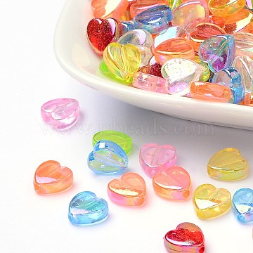 Transparent Acrylic Beads, for Name Bracelets & Jewelry Making, Heart, Dyed, AB Color, Mixed Color, 8x8x3mm, Hole: 1.5mm (X-PL539)
